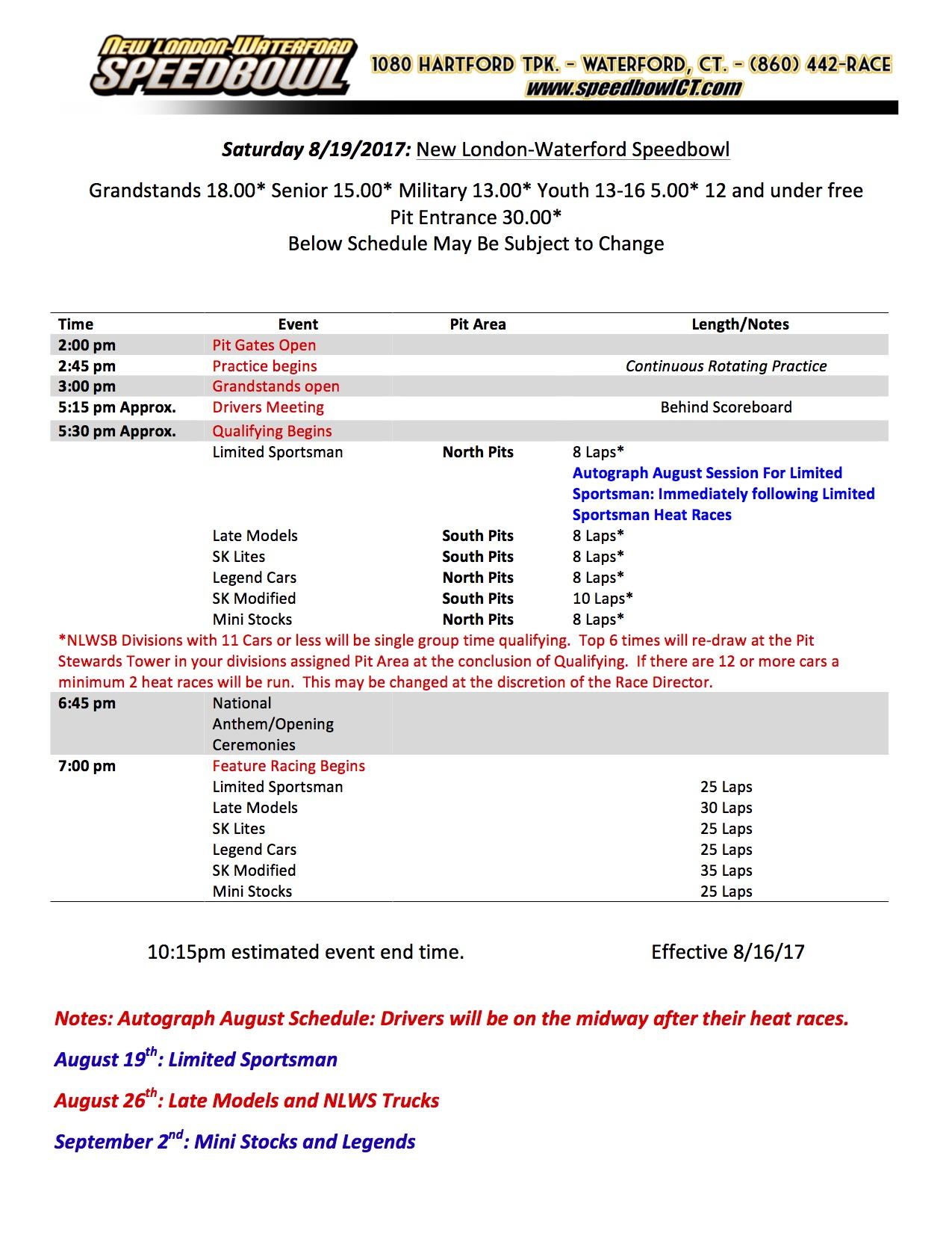 Saturday Race Day Schedule