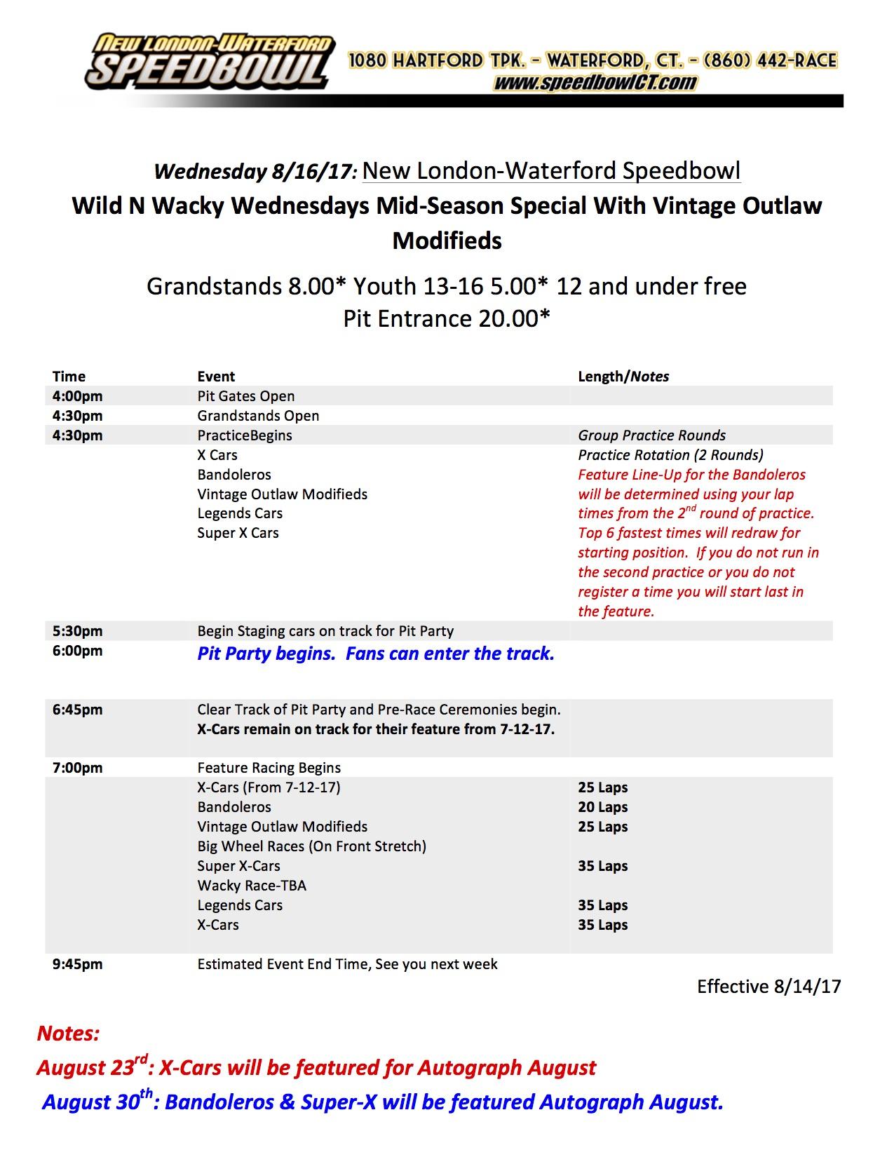 Wednesday Race Day Schedule