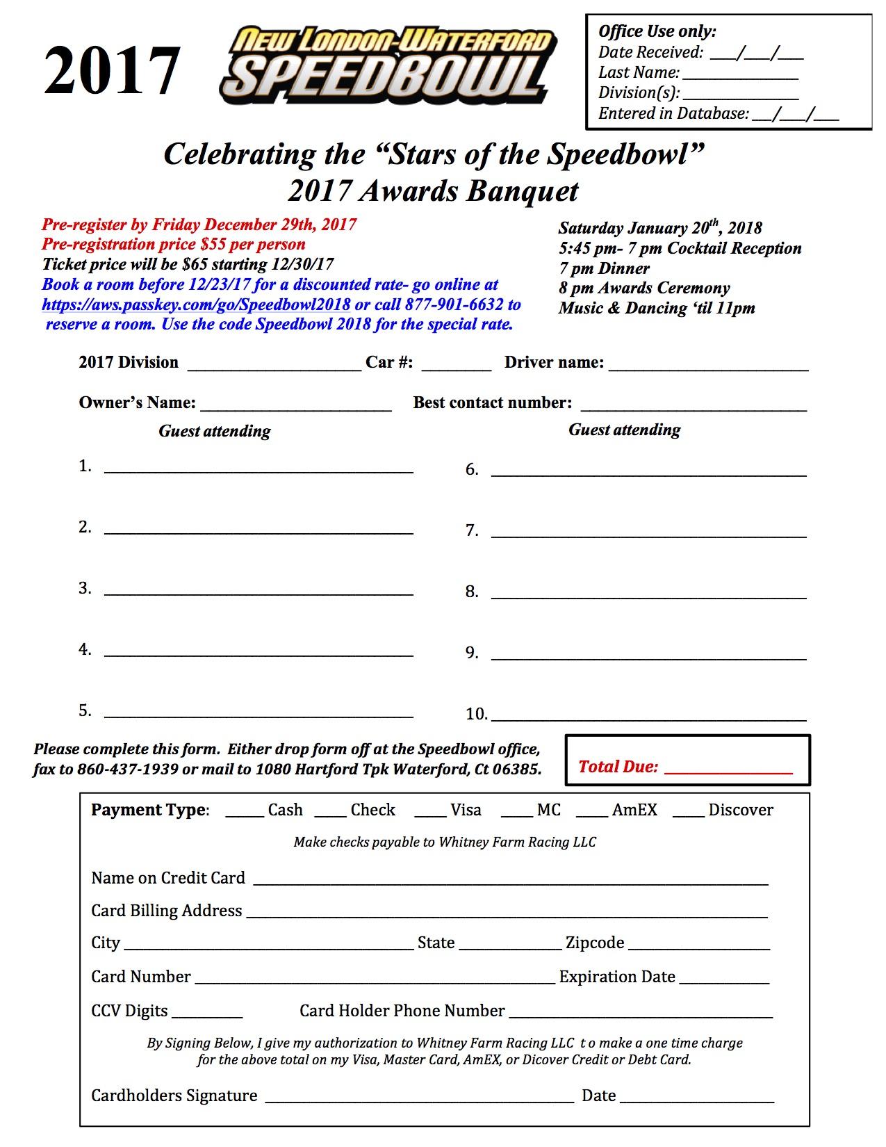 2017 Saturday Night Banquet Form