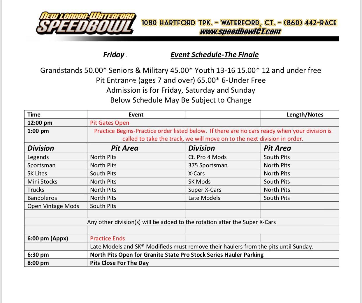Friday Finale Practice Schedule