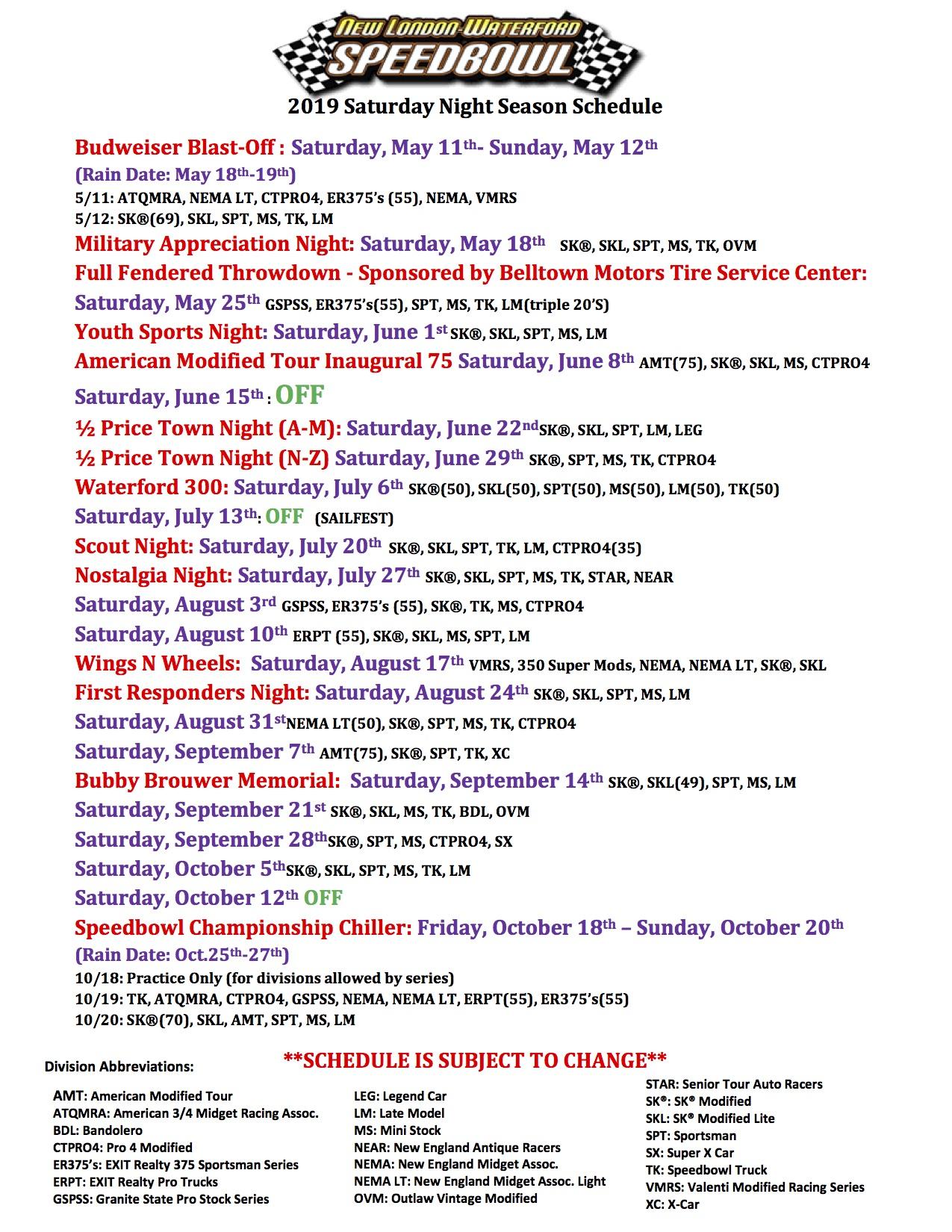2019 Speedbowl Saturday Night Race Schedule