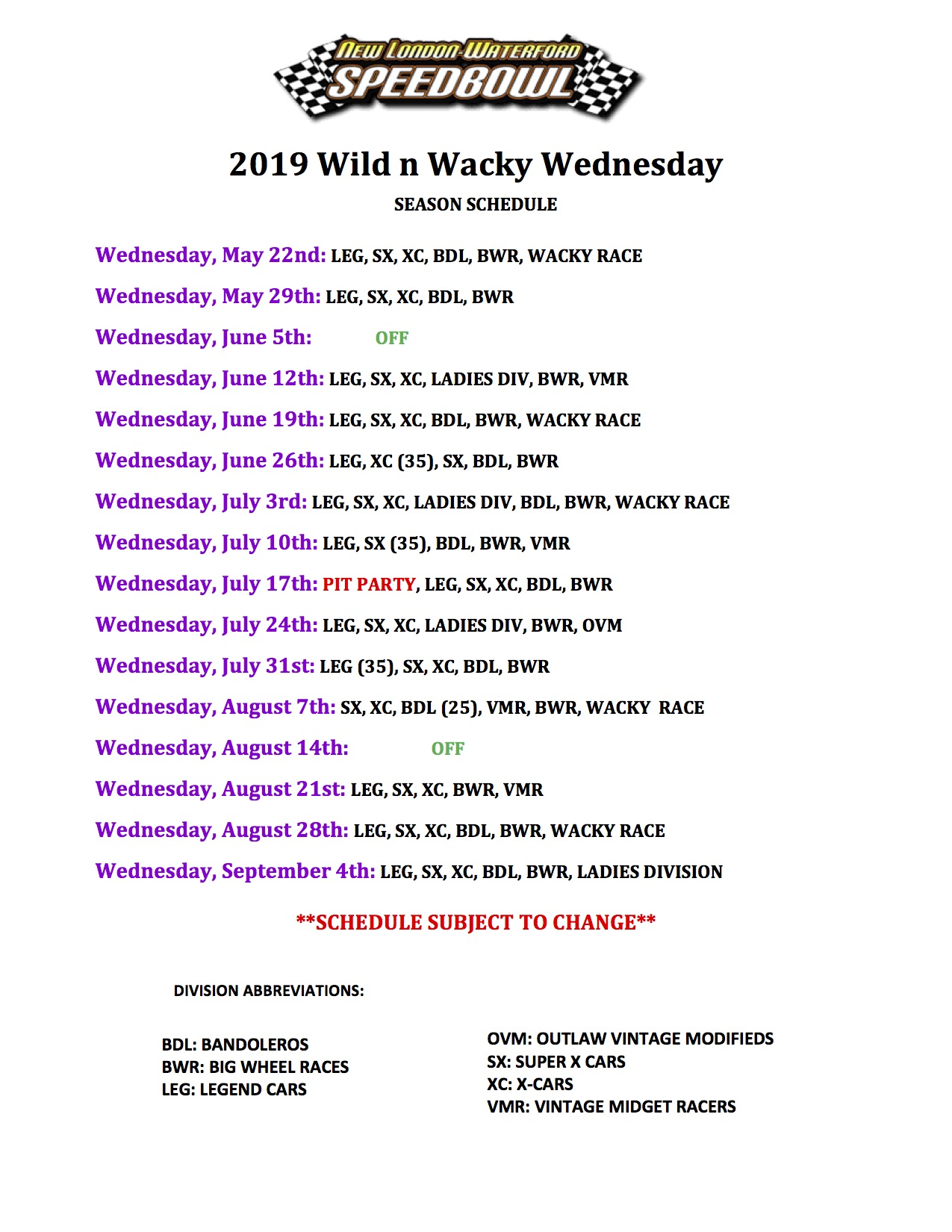 2019 Wild & Wacky Wednesday Season Schedule