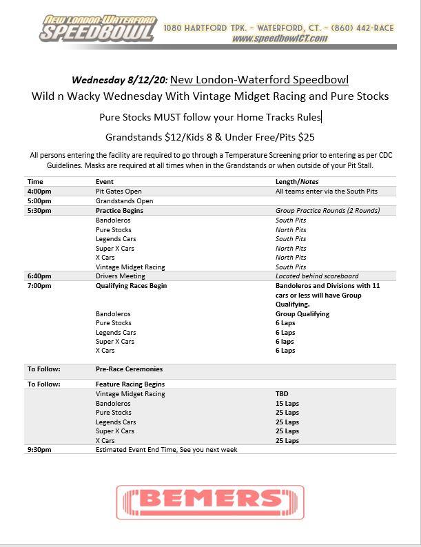 Wild &Wacky Wednesday Race day Schedule