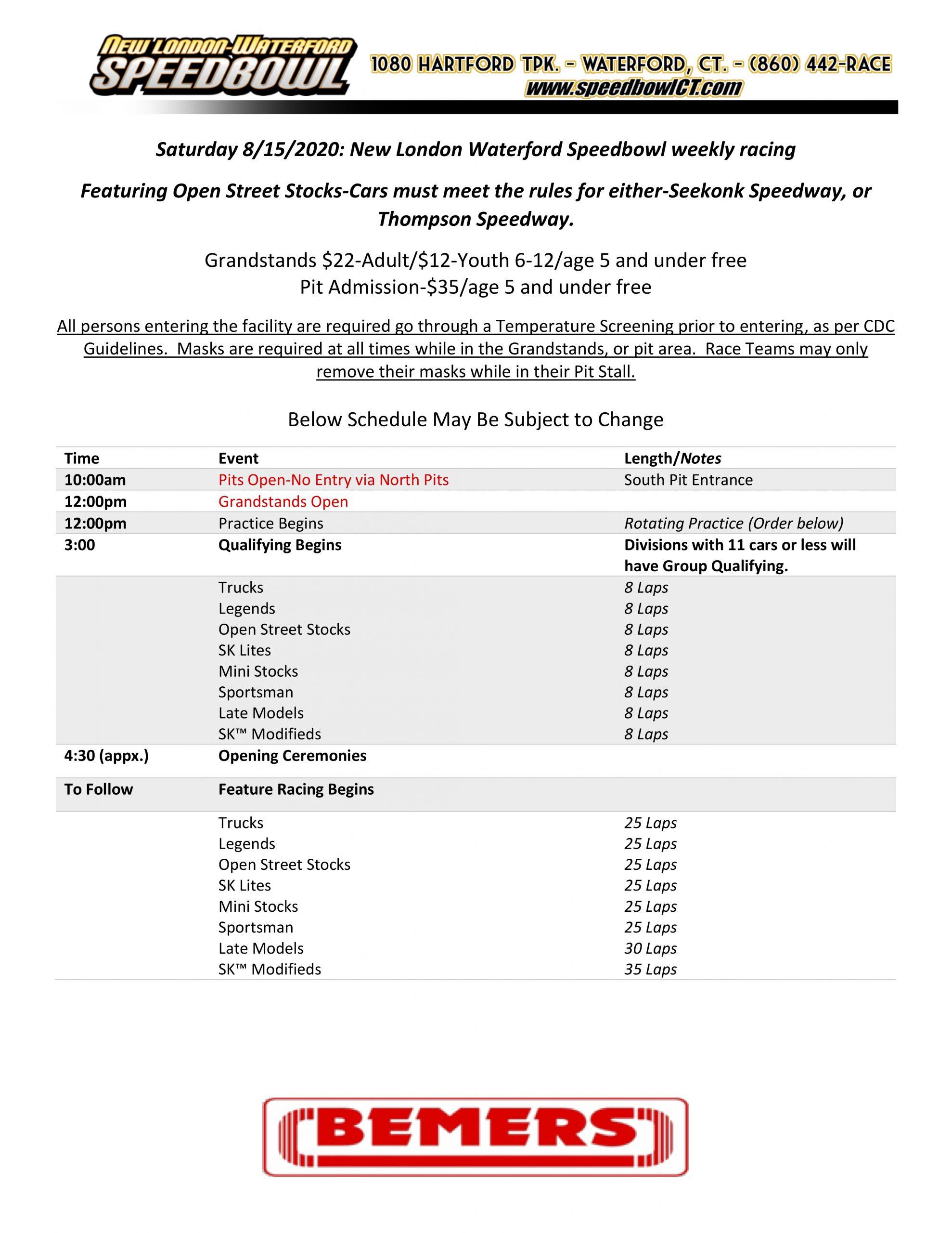 Saturday Night Race Schedule