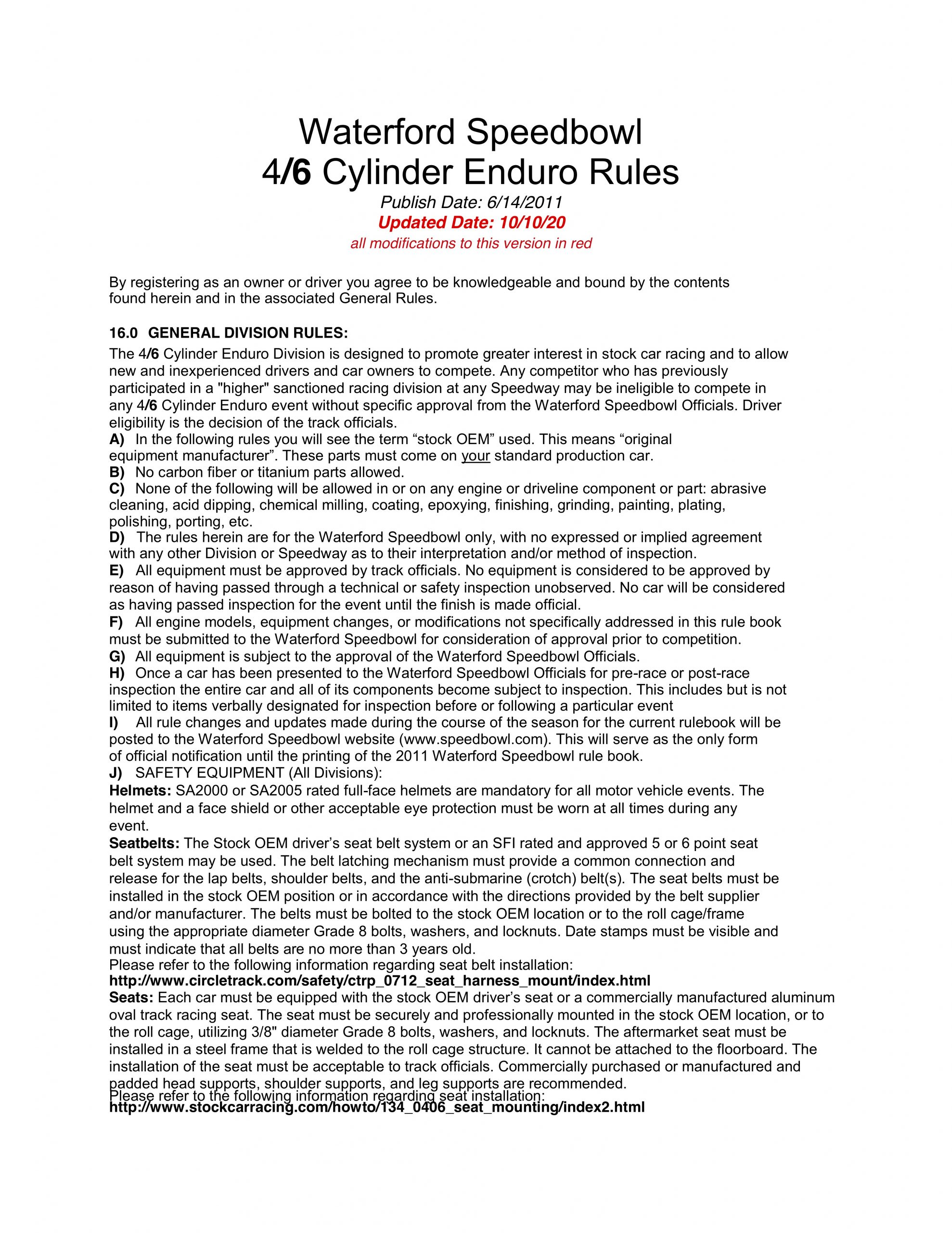 2020 4/6 Cylinder Enduro Rules