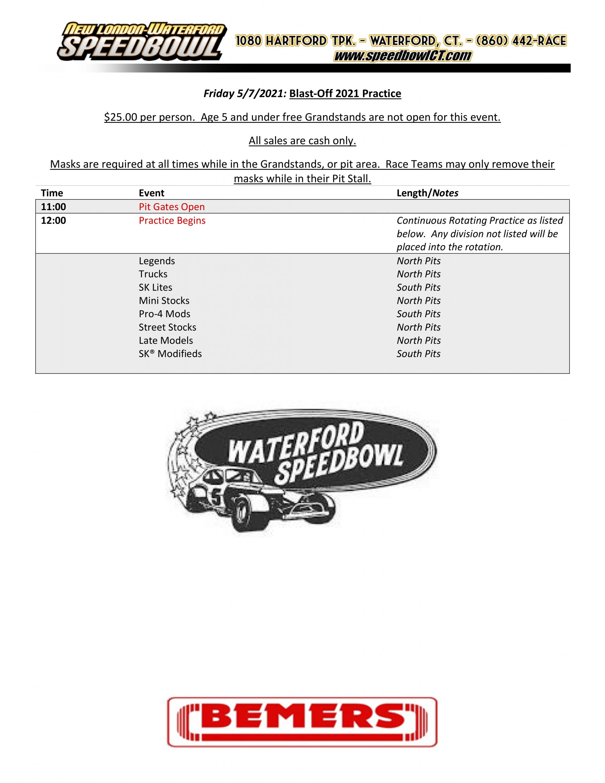 Friday May 7th Practice Schedule