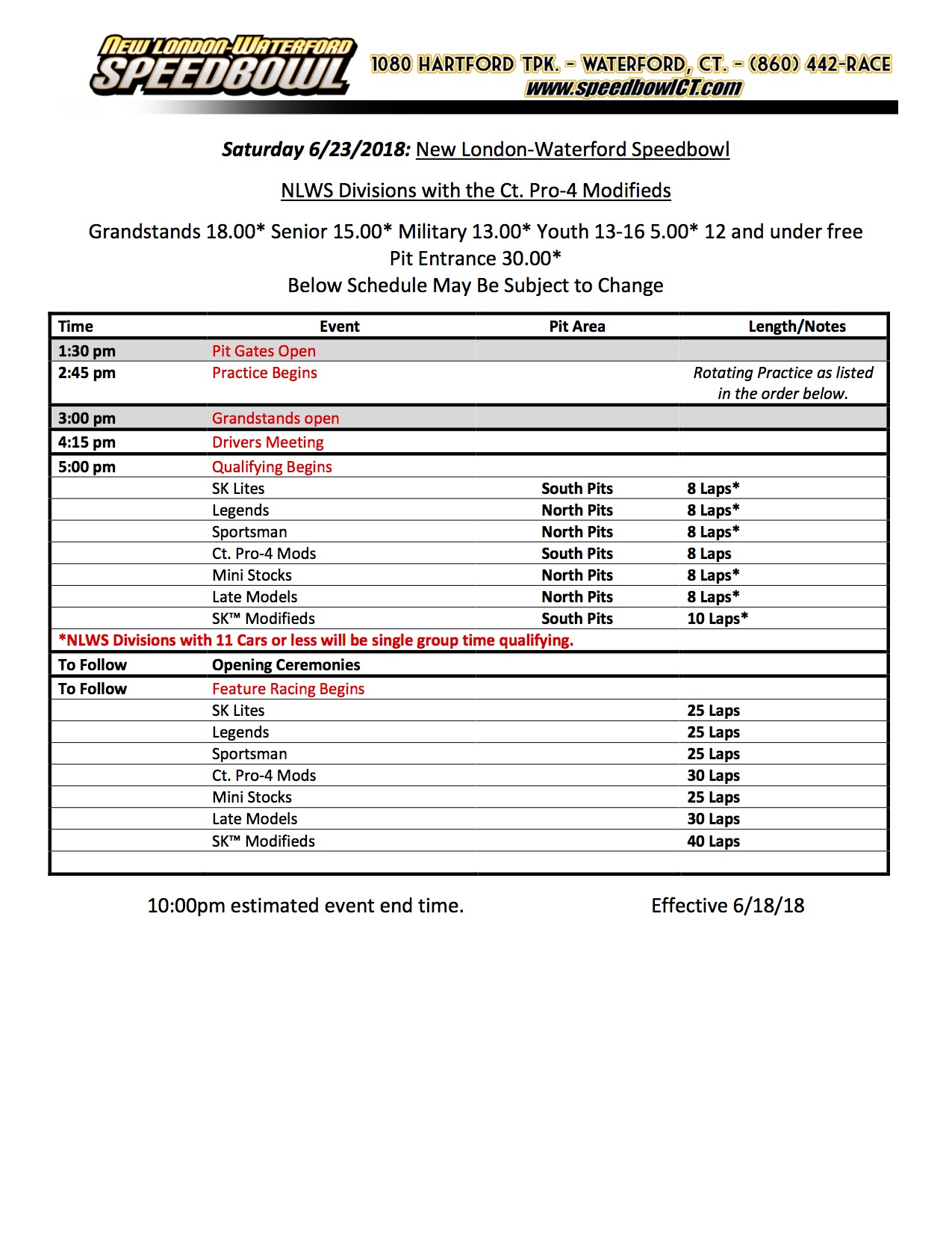 Saturday Race Day Schedule
