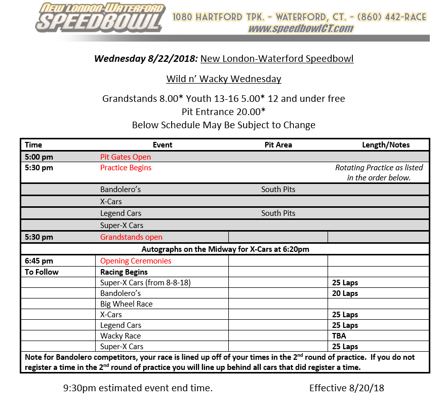 Wild& Wacky Wednesday Race Day Schedule
