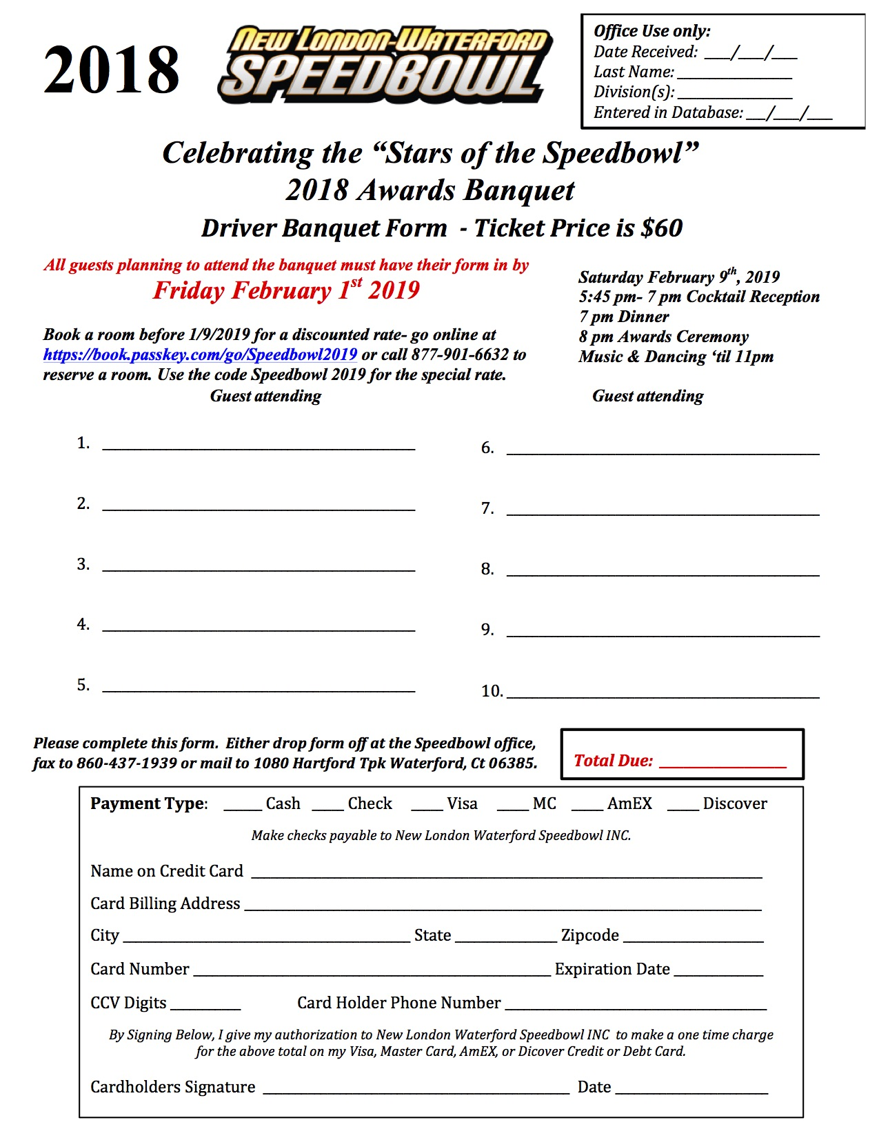 2018 Season Banquet Form