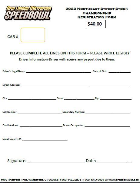 2020 New England Street Stock Championship Registration Form