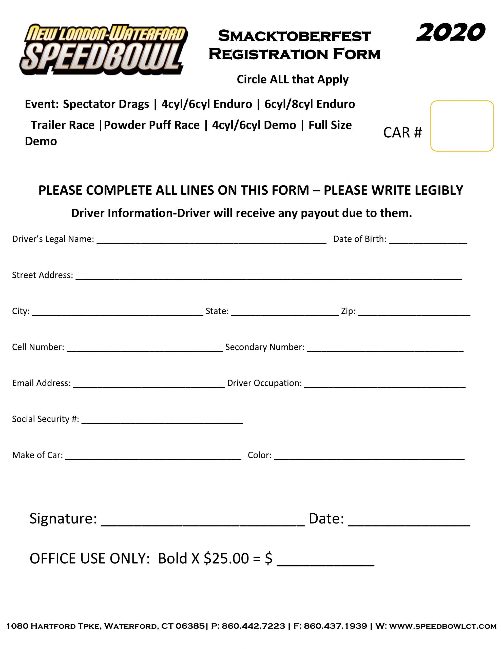 2020 Smacktoberfest Registration Form