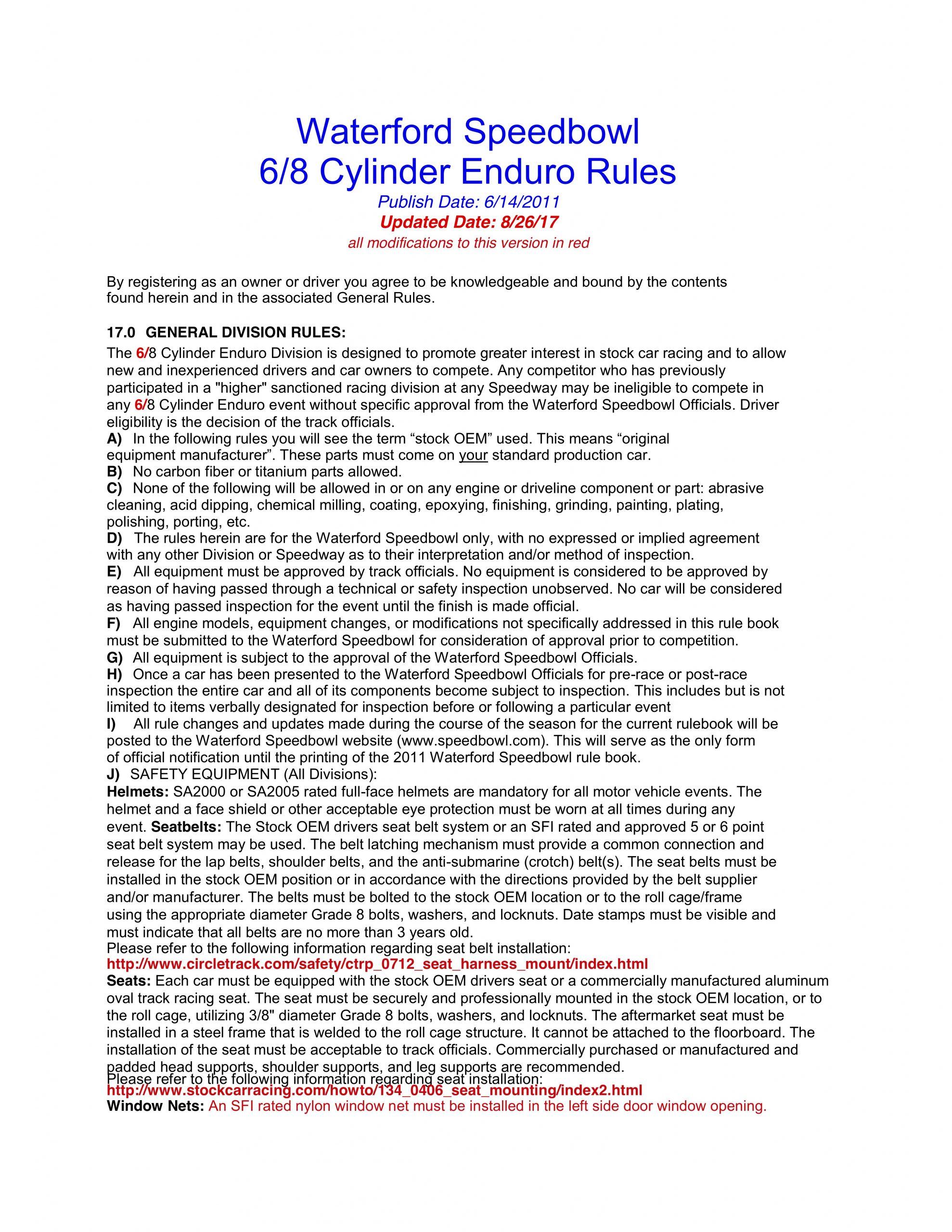 2020 6/8 Cylinder Enduro Rules
