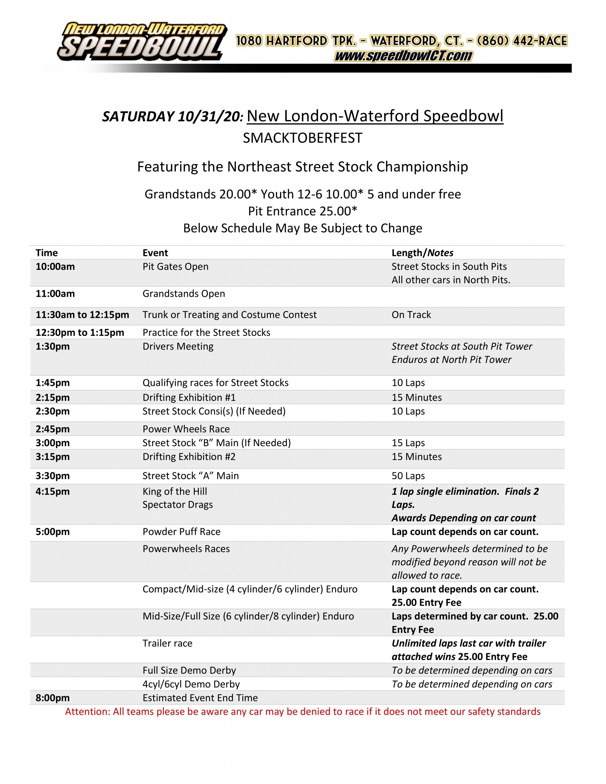 Smacktoberfest Event Schedule 10-31-20