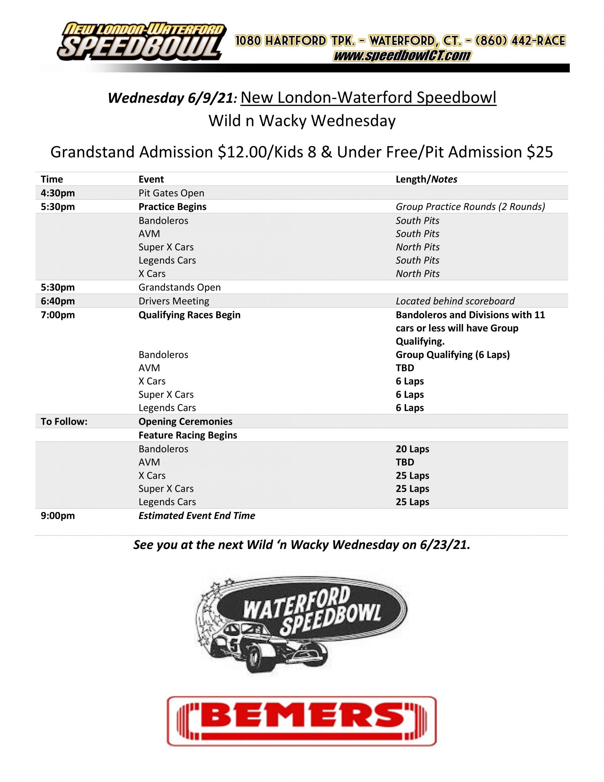 Wild & Wacky Wednesday Schedule