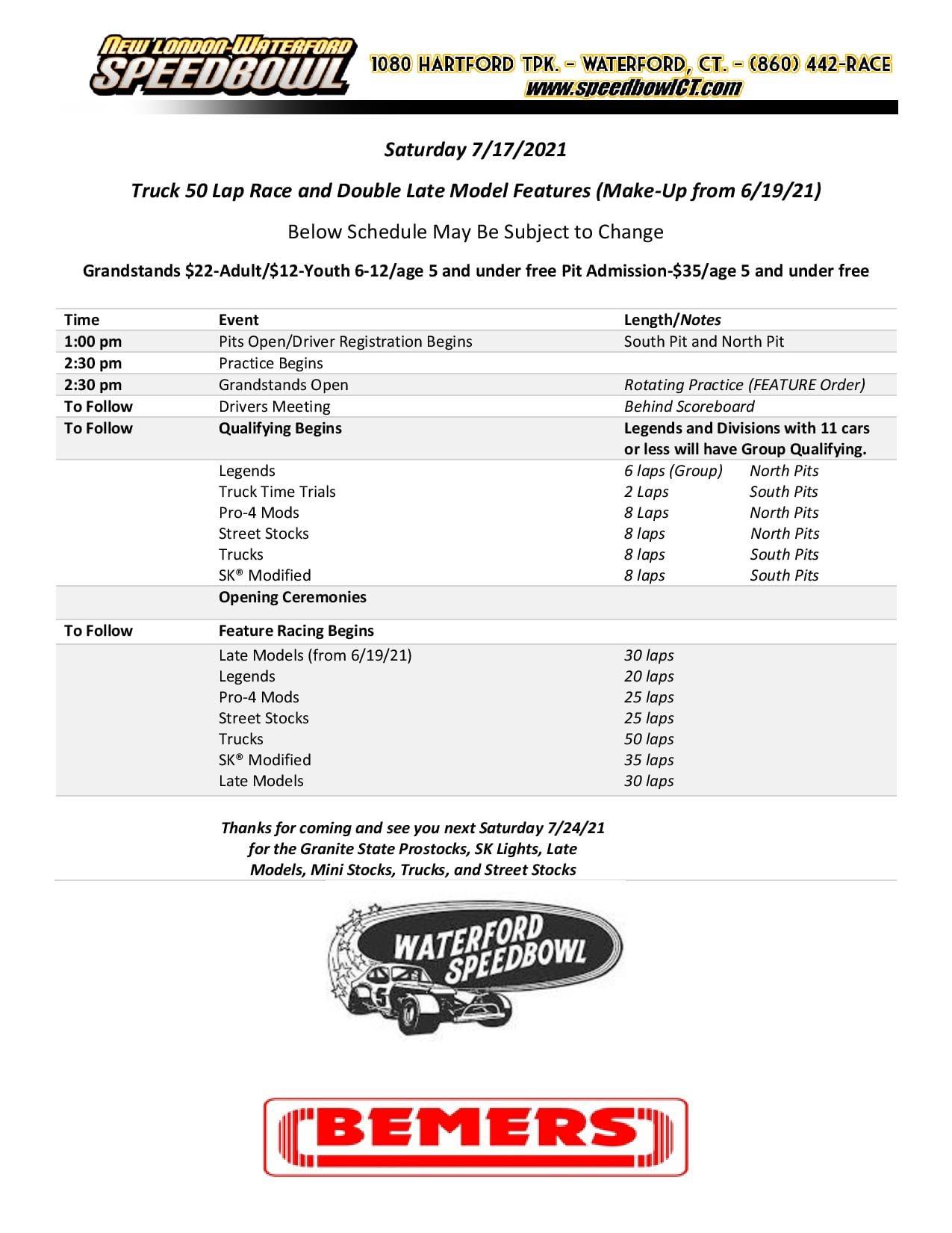 Saturday Raceday Schedule