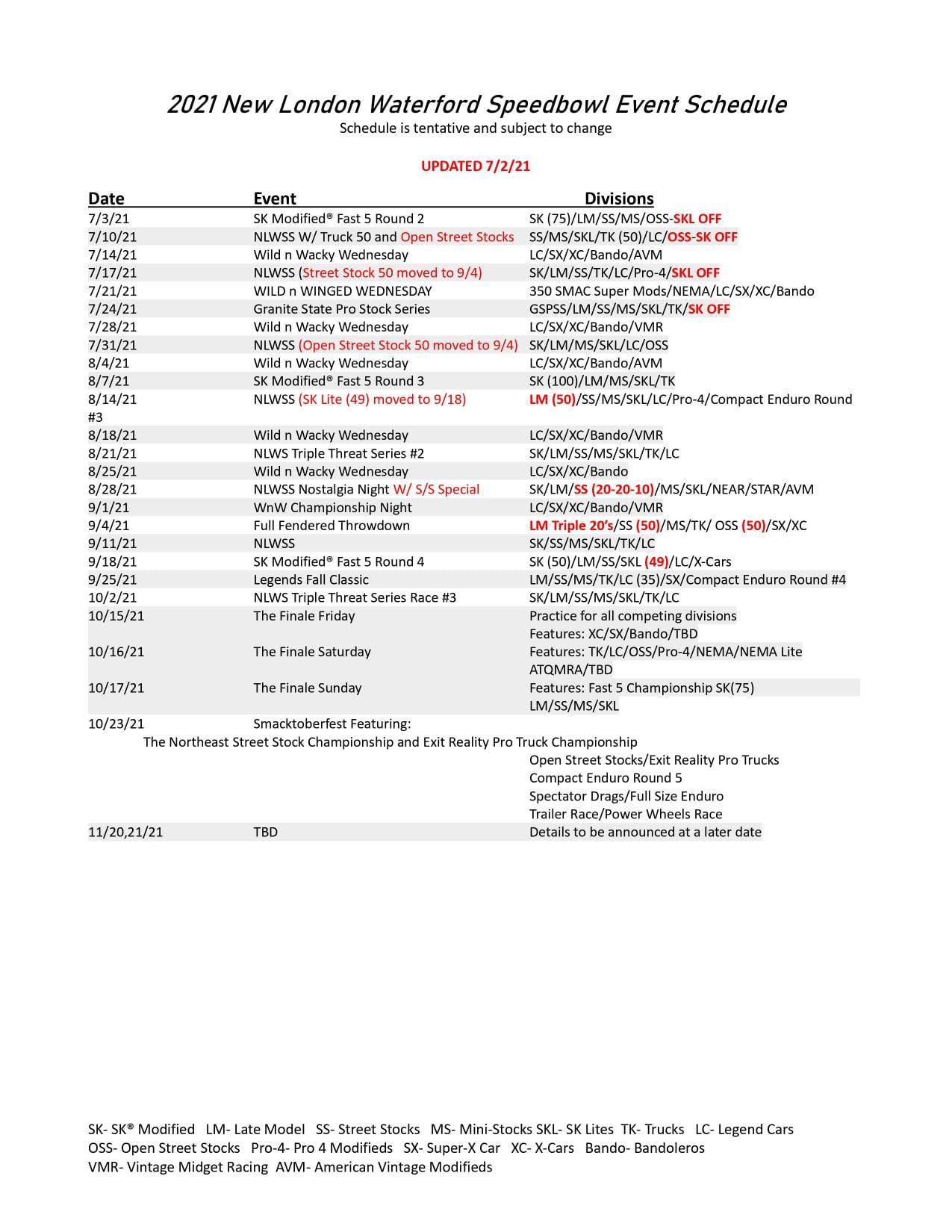2021 New London Waterford Speedbowl Event Schedule (Updated)
